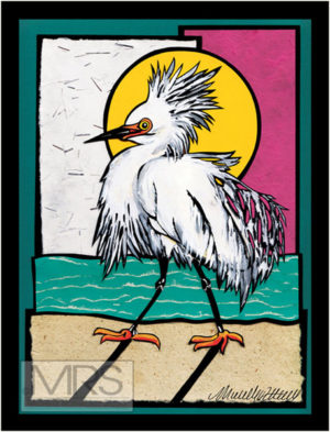 strutting egret